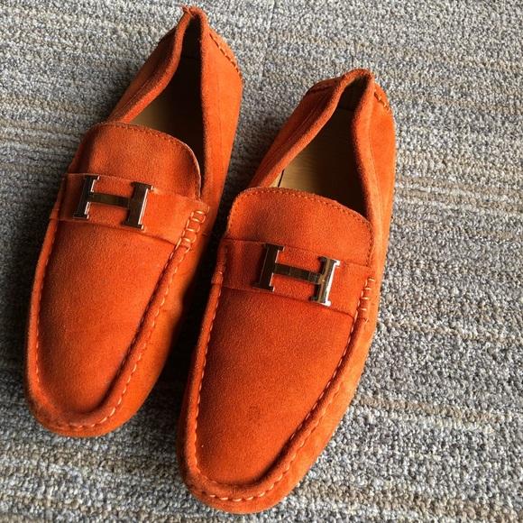 Hermès mens slip on boat shoes.